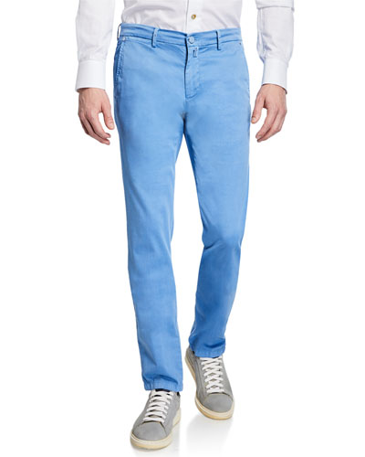 Men's Silk-Blend Straight-Leg Pants