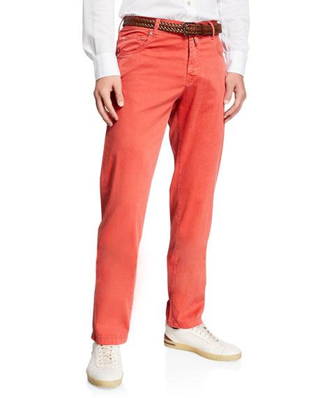 Kiton Pants MEN'S COTTON/SILK STRETCH STRAIGHT-LEG PANTS