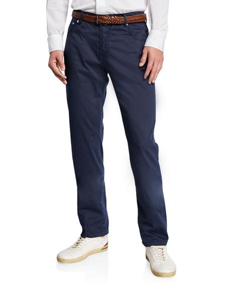 Kiton Pants MEN'S COTTON/SILK-STRETCH STRAIGHT-LEG PANTS