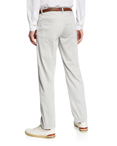 Men's Cotton/Silk Stretch Straight-Leg Pants