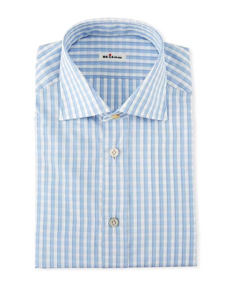 Kiton Cottons MEN'S GINGHAM CHECK DRESS SHIRT