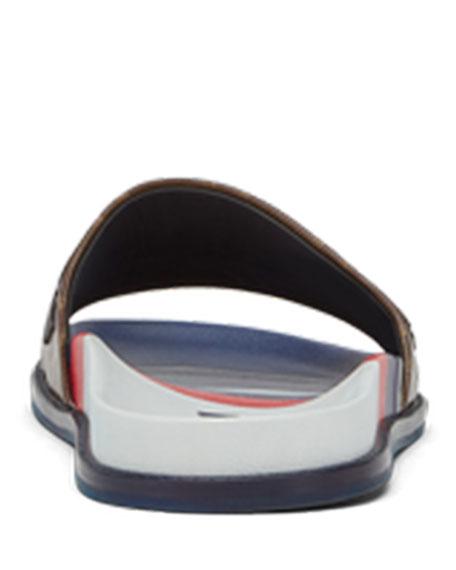 Men's Fendi Mania Logo-Applique Leather Slide Sandal