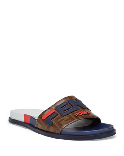 Men's Fendi Mania Logo-Applique Leather Slide Sandal