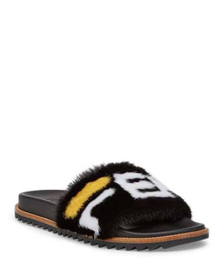 820745281b86 Fendi Men s Fendi Mania Logo-Print Mink Fur Slide Sandals