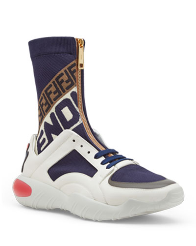 Men's Fendi Mania Zip-Front Sock Sneakers