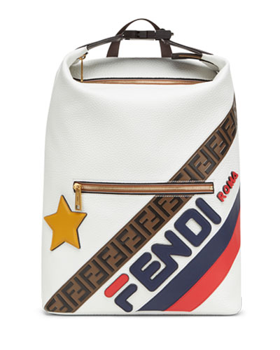 Men's Fendi Mania Logo-Stamped Leather Backpack
