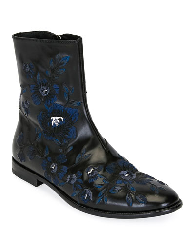 Men's Embroidered Leather Half-Boot