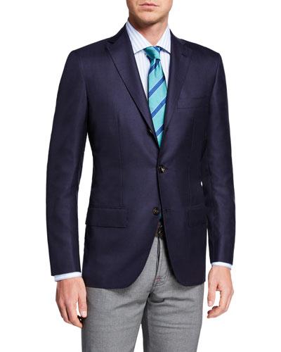 Men's Solid Cashmere Three-Button Blazer