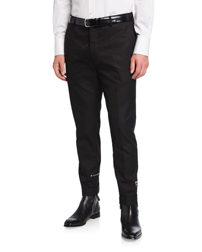 Men's Solid Twill Tapered Trousers