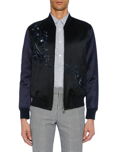 Men's Satin Black Bomber Jacket