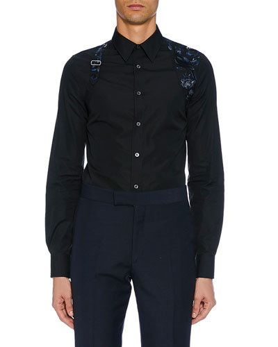 Men's Long-Sleeve Embroidered Flower Shirt