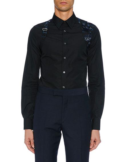 Alexander McQueen Men's Long-Sleeve Embroidered Flower Shirt