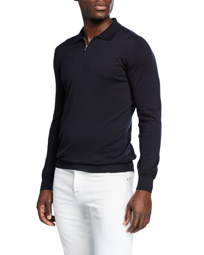 Men's Long-Sleeve Zip Polo Shirt