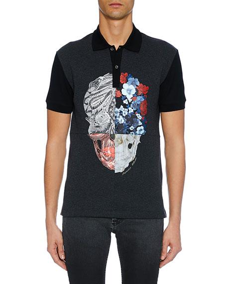 Alexander Mcqueen Cottons Men's Two-Button Skull Graphic Polo Shirt, GRAY/BLACK