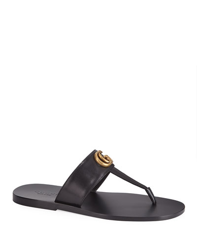 Men's GG-Stud Leather Thong Sandals