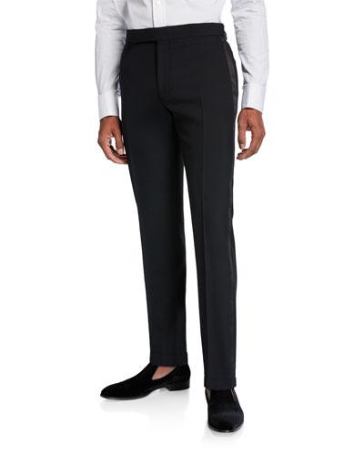 Men's Gregory Wool Barathea Tapered Tuxedo Pants
