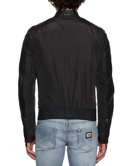 6dd8c76b7 Men's Nylon/Leather Bomber Jacket