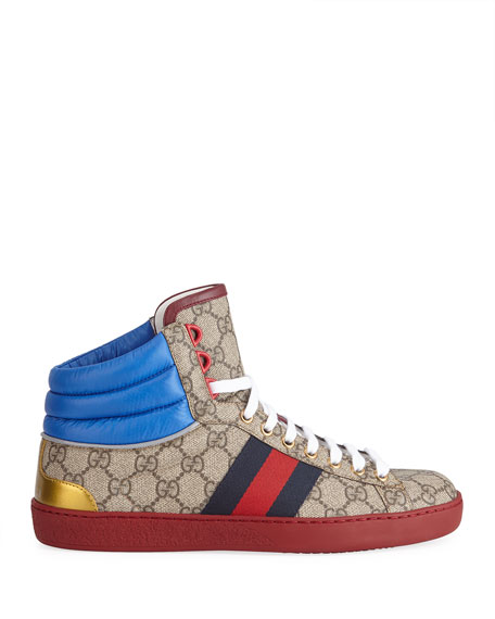 a180bebe428c Gucci Men s Ace GG High-Top Sneakers