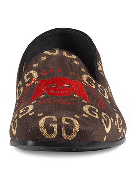 012fd5c1c Gucci Men's Winged Skull-Embroidered Loafers