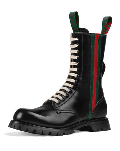 Men's Black Leather Boots With Web