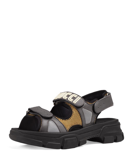 Gucci Men's Leather and Mesh Sandals with Chunky