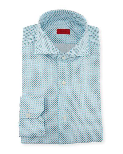 Men's Aqua Print Dress Shirt