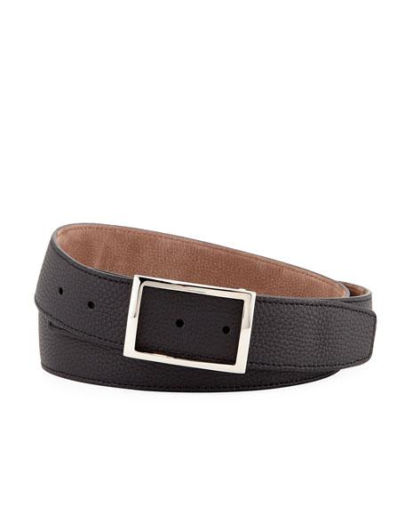 Simonnot Godard Men's Reversible Grained Nubuck Leather Belt