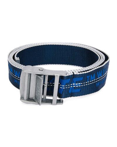 Men's Industrial Web Logo Belt - Silvertone Hardware