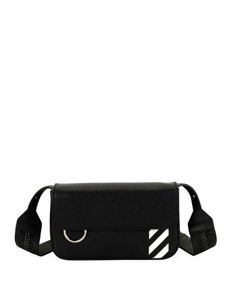 Men's Diagonal-Panel Flap Crossbody Bag