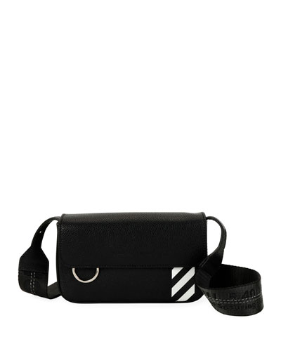 Men's Diagonal-Panel Flap Crossbody Bag
