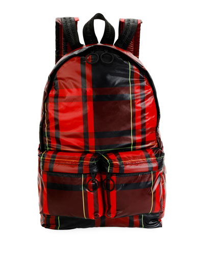 Men's Leather Check Backpack