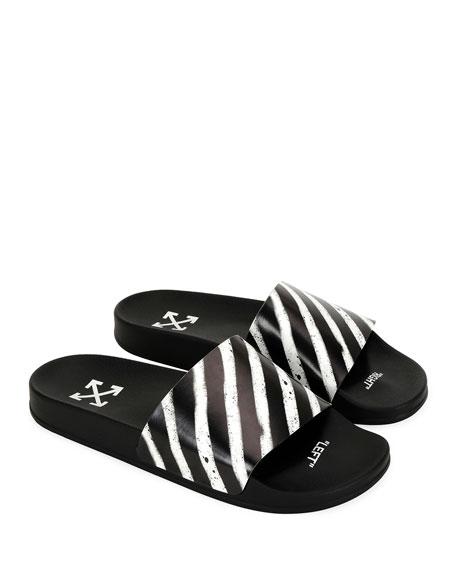 4a9433167df Off-White Men S Spray-Stripe Pool Slide Sandals In Black