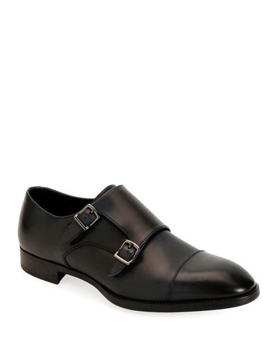 Men's Leather Double-Monk Shoes