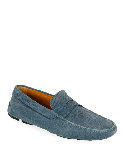 Men's Chevron Suede Drivers  Blue