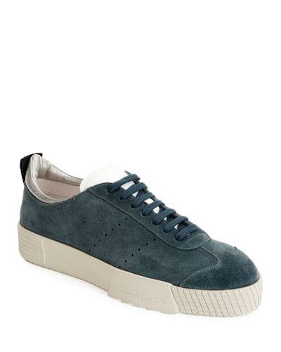 Men's Suede Low-Top Sneakers, Blue