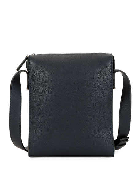 Giorgio Armani Men s Tumbled Calf Leather Crossbody Bag 0b77b1ef0d484