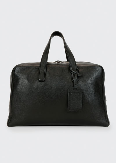 Men's Deer Leather Carryall Duffel Bag, Black