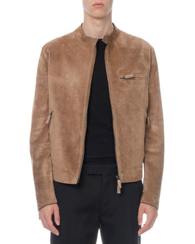 Men's Suede Zip-Front Moto Jacket