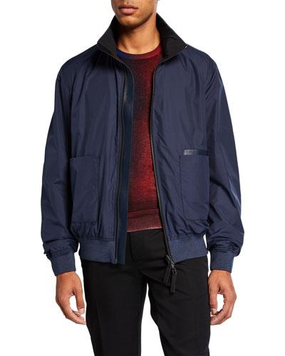 Men's Leather-Trim Zip-Front Bomber Jacket