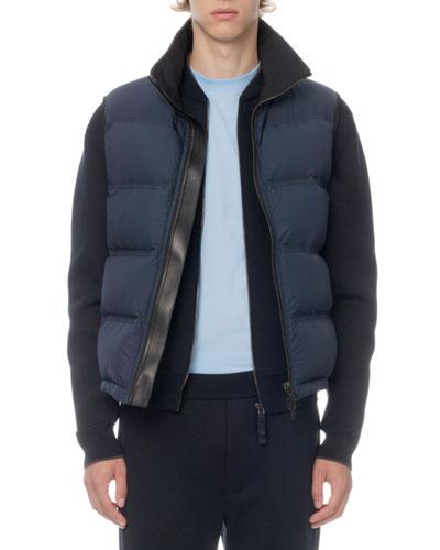 Men's Leather-Trim Zip-Front Down Vest