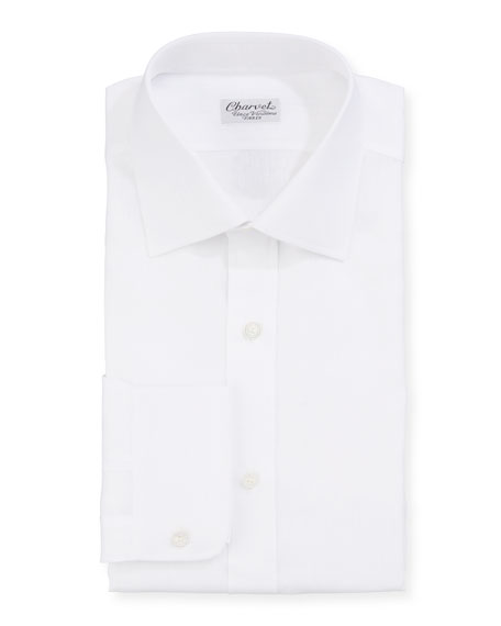 Men's Solid Linen Dress Shirt, White
