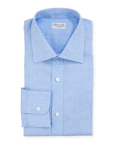 Men's Solid Linen Dress Shirt  Blue
