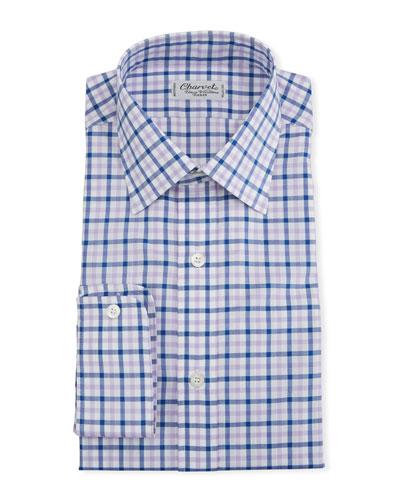 Men's Two-Tone Plaid Dress Shirt  Pink/Purple