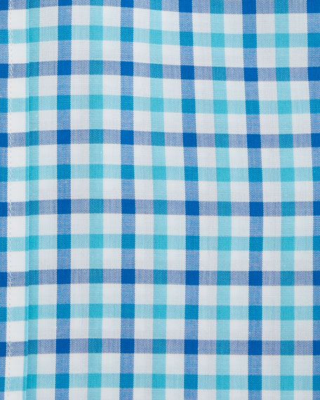 Men's Two-Tone Plaid Dress Shirt, Blue/Green