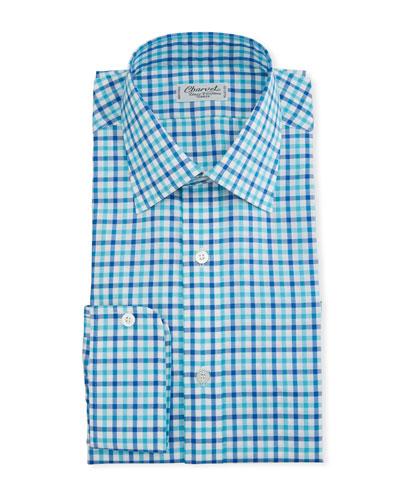 Men's Two-Tone Plaid Dress Shirt  Blue/Green