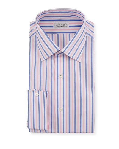 Men's Vertical Stripe Dress Shirt  Pink/Blue