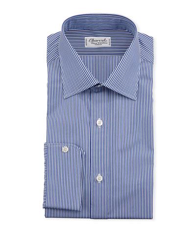 Men's Vertical Stripe Dress Shirt  Navy