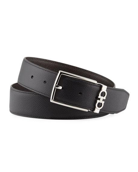 Salvatore Ferragamo Men's Reversible Textured Leather Belt with