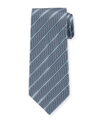 Men's Striped Woven Jacquard Tie, Turquoise