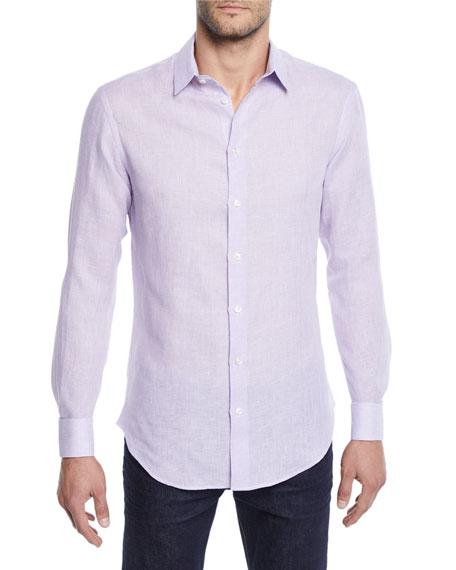 Men's Micro-Houndstooth Linen Sport Shirt, Light Purple
